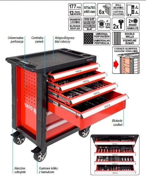 8cc0fd77546fb2 YATO Wózek narzędziowy + zestaw narzędzi 177 części